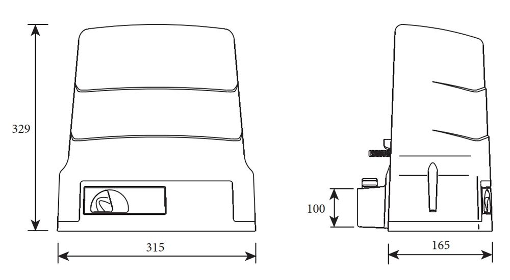 Габаритный размер привода ROGER H30