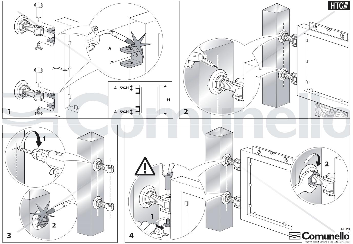 Схема монтажа петель Fratelli Comunello 155